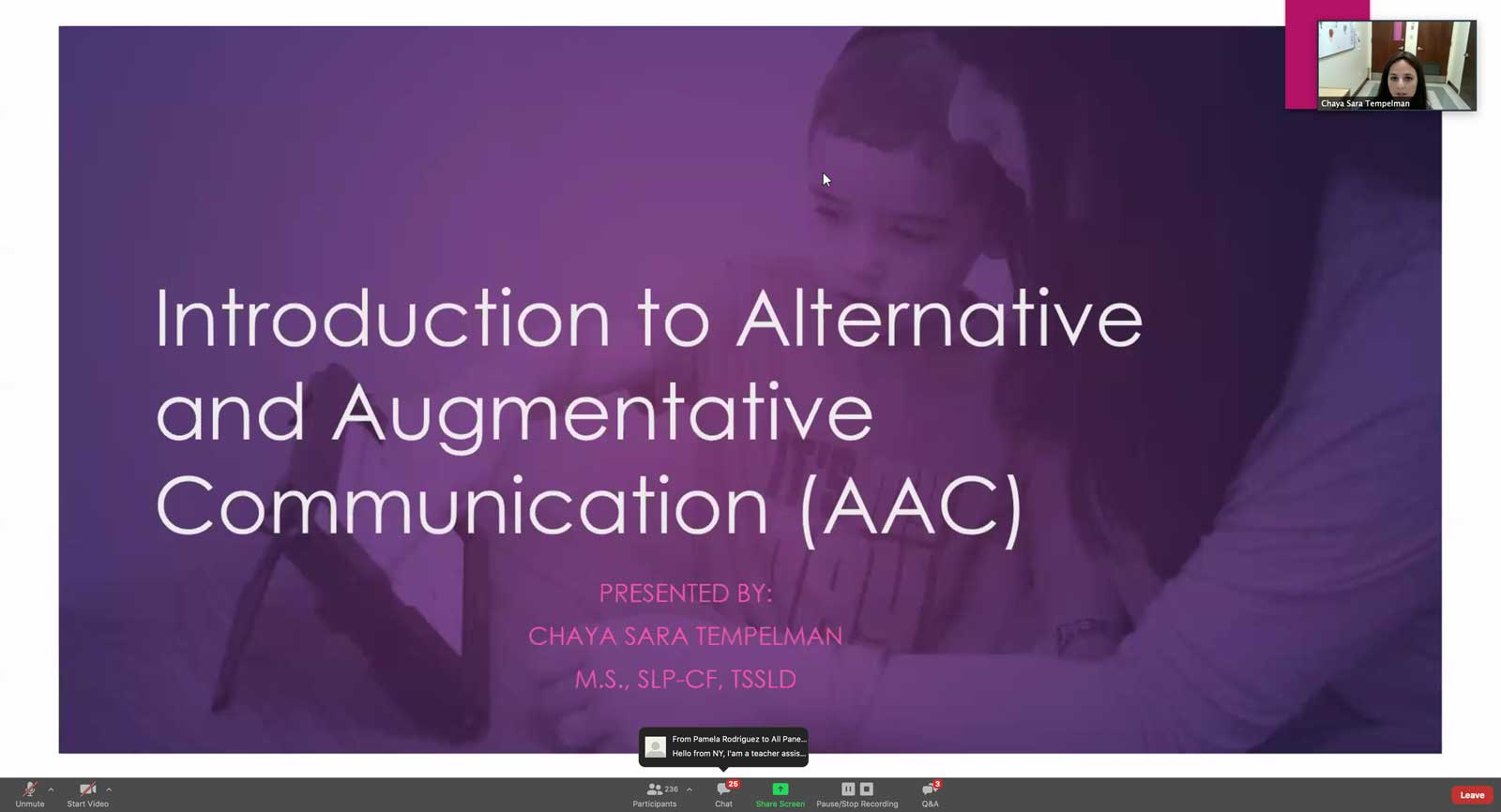 Chaya Sara Templeman, SLP-CF, TSSLD Presenting Workshop on Augmentative Alternative Communication