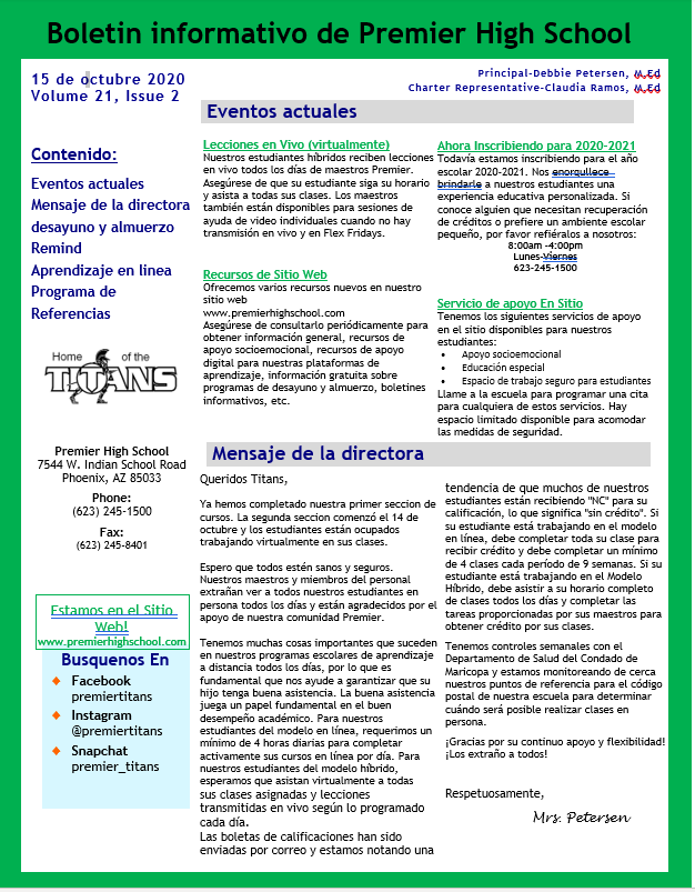 Newsletter Spanish page 1  10.15.20