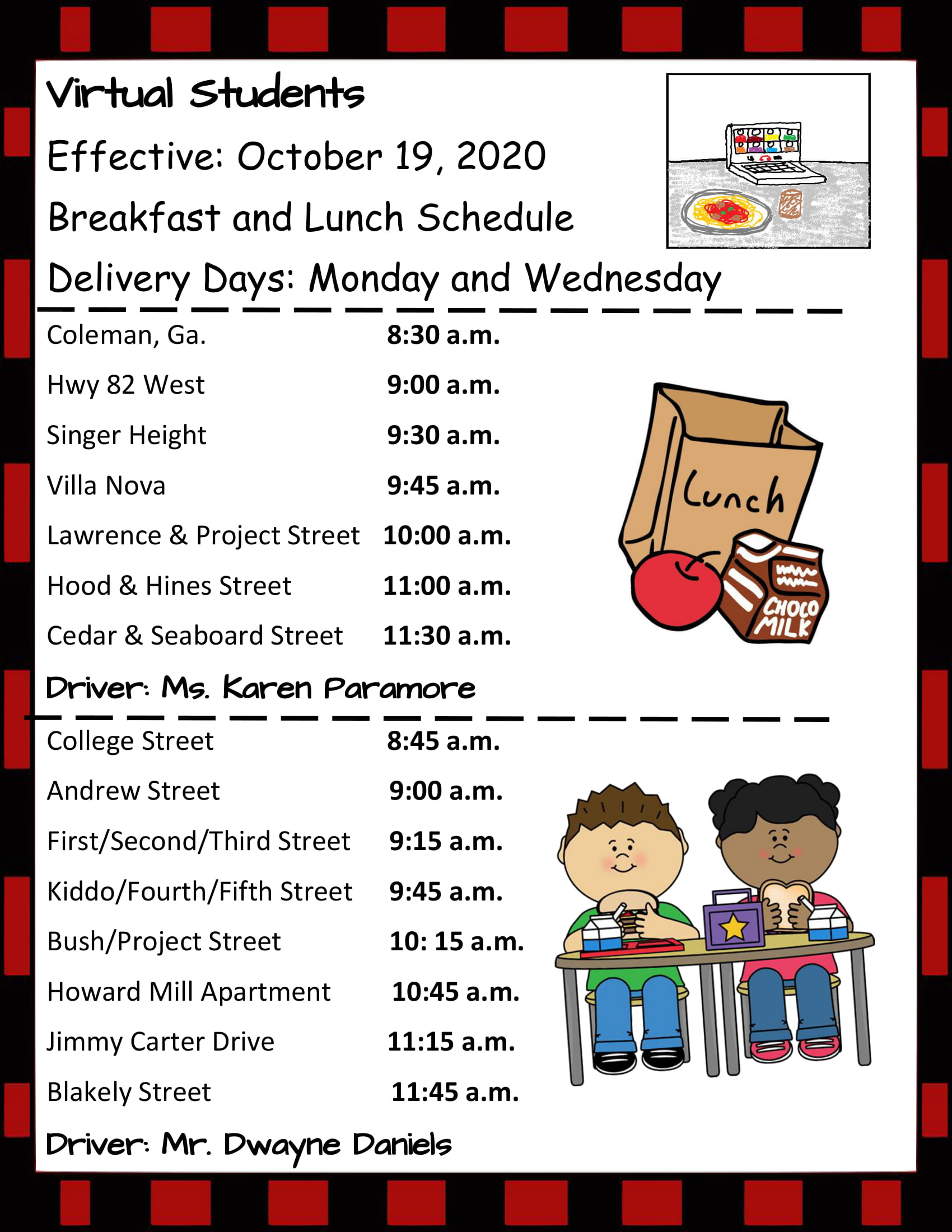 Breakfast and Lunch Delivery Schedule for Virtual Learners