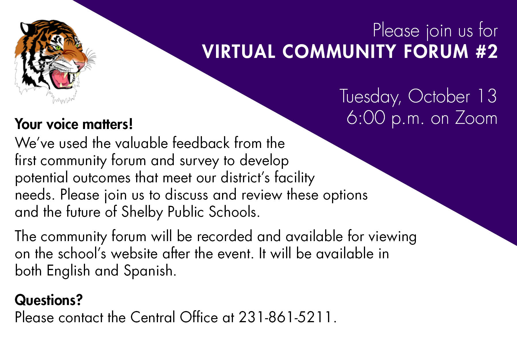 community forum scheduled for Oct 13