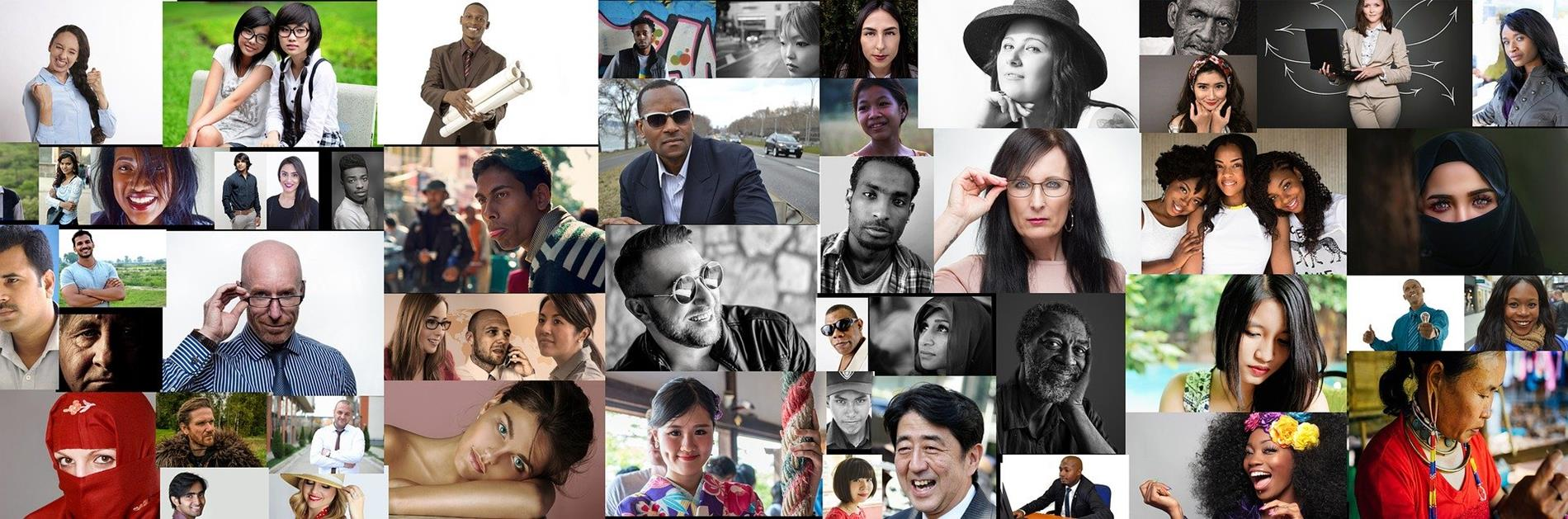 Photo montage banner of all kinds of humans