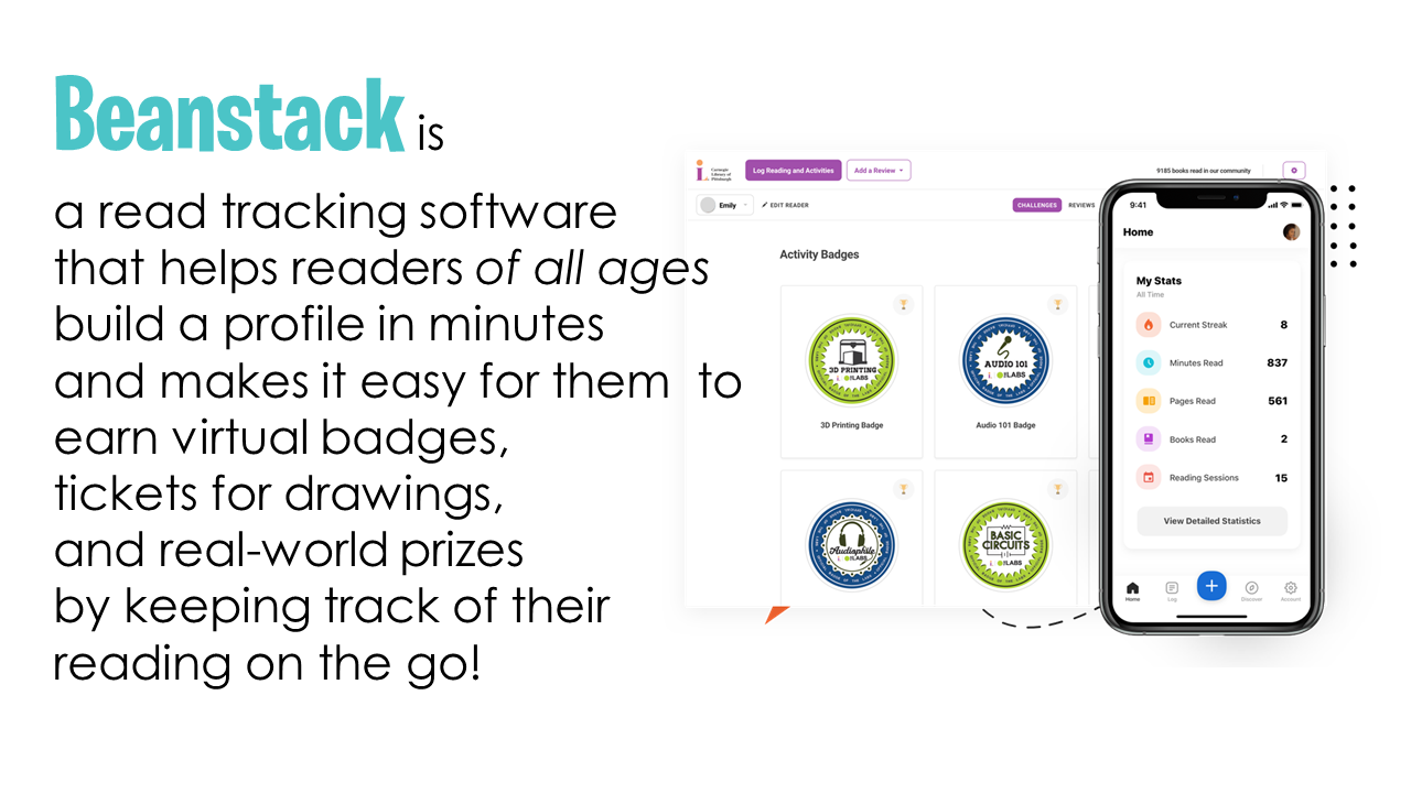 Beanstack is a read tracking software that helps readers of all ages build a profile in minutes and makes it easy for them  to earn virtual badges,  tickets for drawings,  and real-world prizes  by keeping track of their reading on the go!