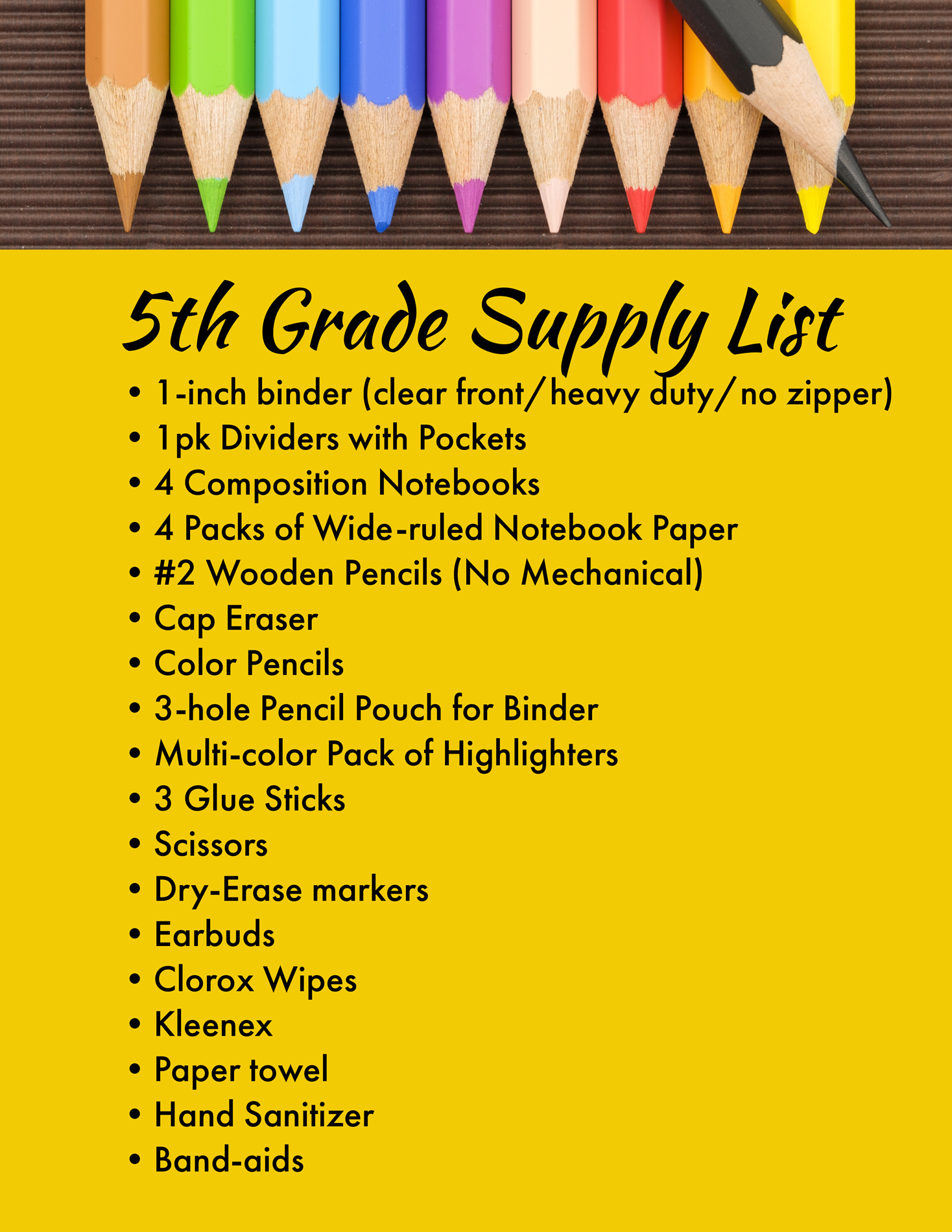 5th grade supplies