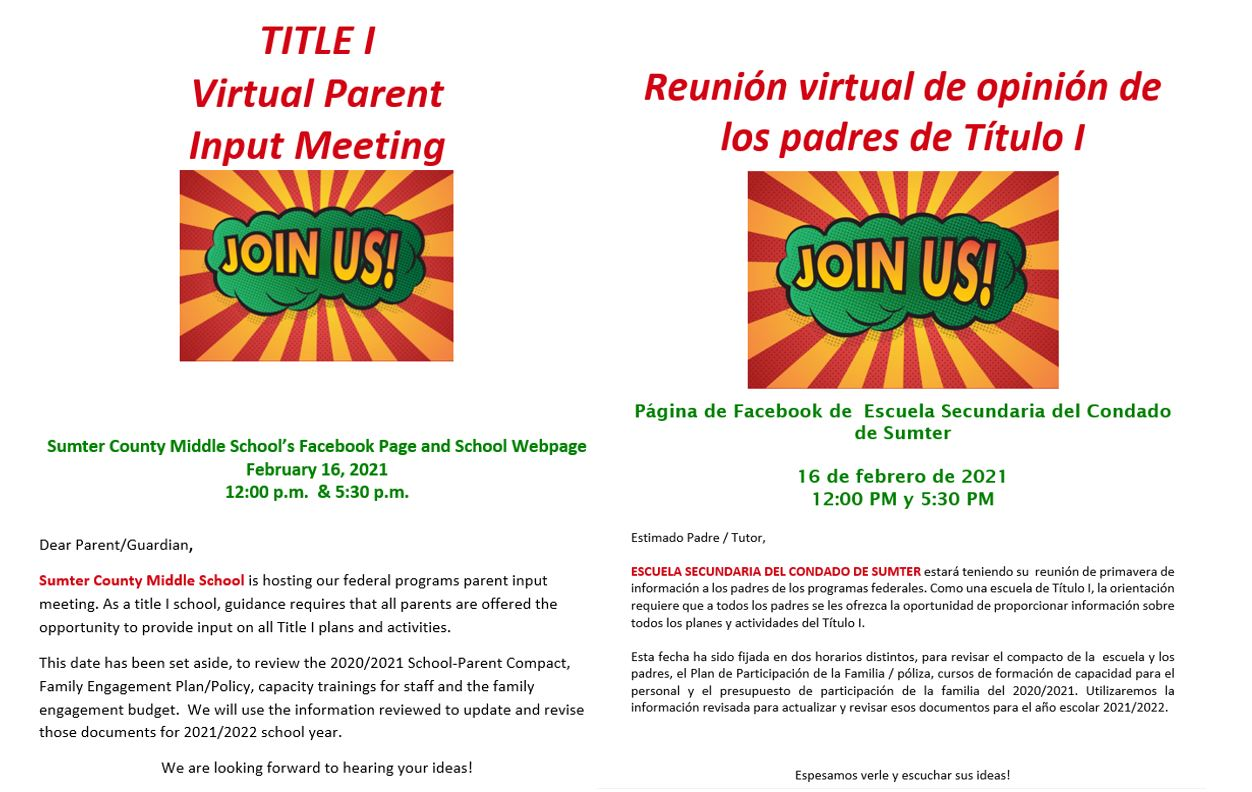 Join us for a Title 1 Virtual Parent Input Meeting