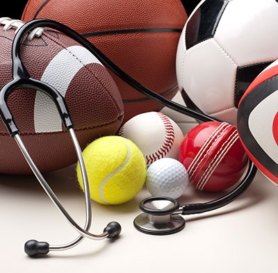 assorted sports equipment and a stethoscope