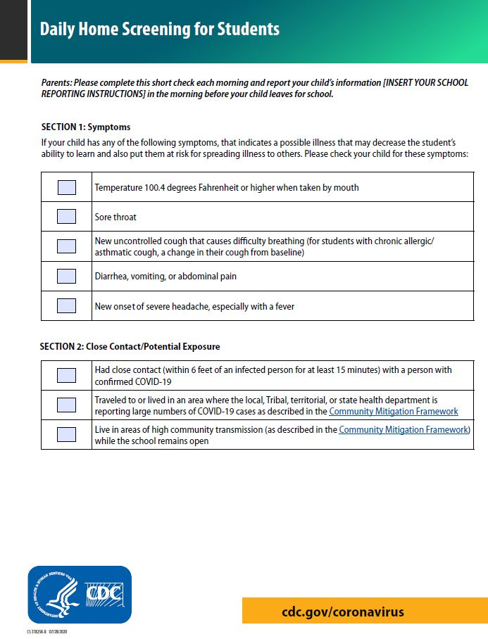 Daily Screening Guide Check list