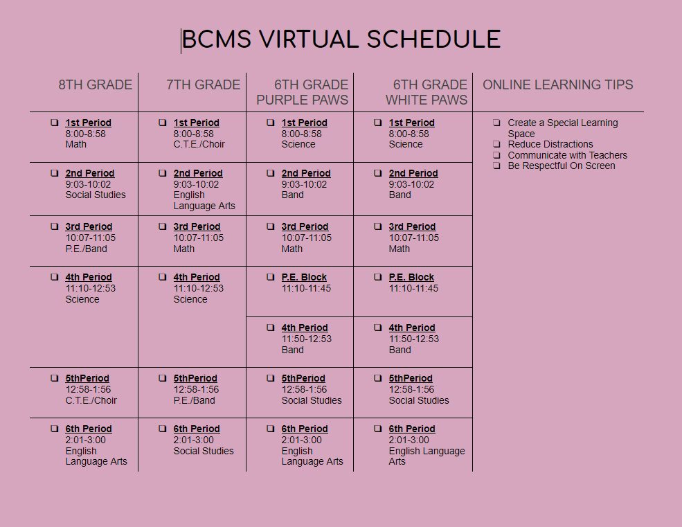 Virtual Student Schedule: 01212021