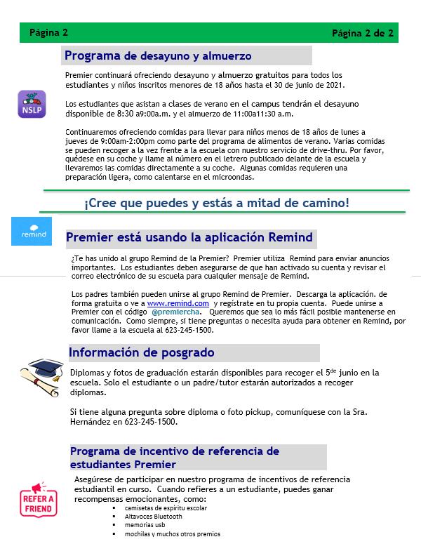 Newslettter Spanish page 2 5.25.21