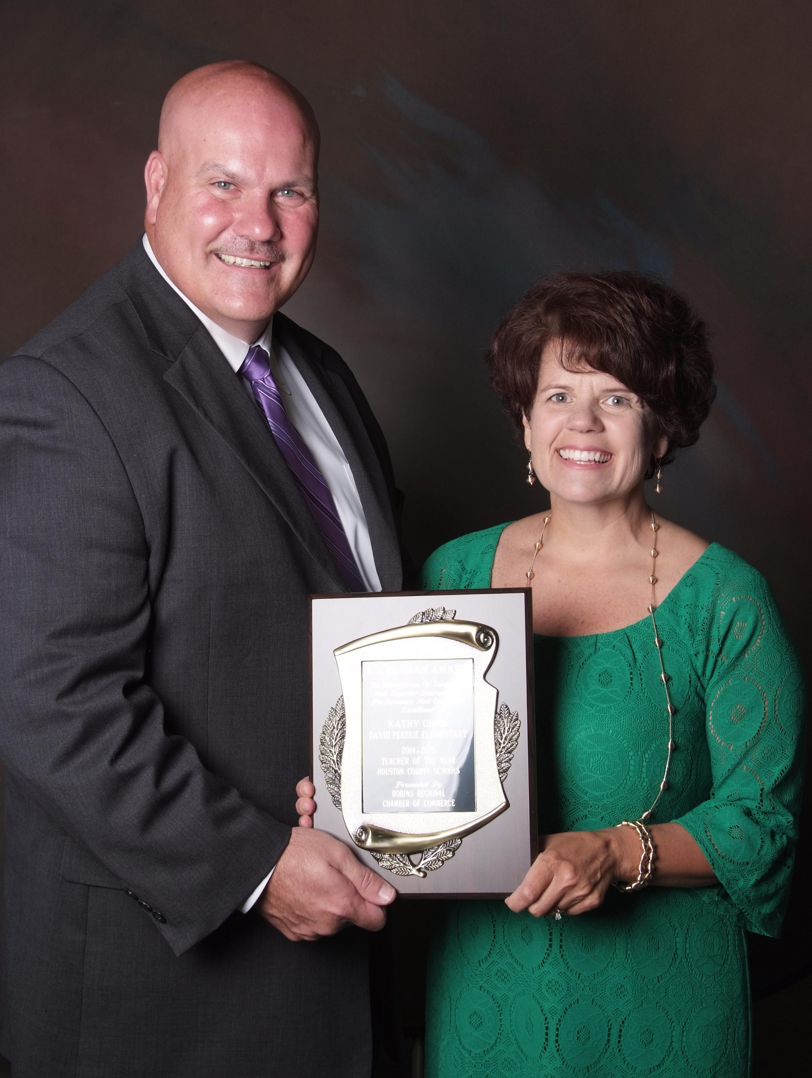 Kathy Gibbs with Superintendent of School Dr. Mark Scott