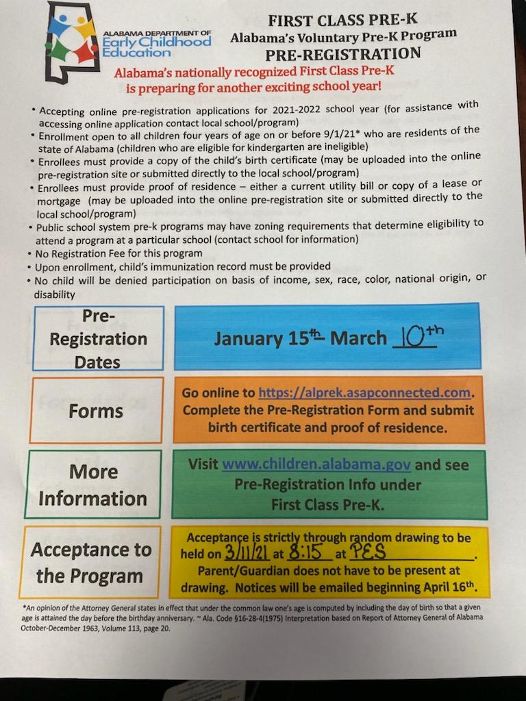 Pre Kindergarten registration information