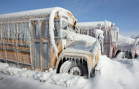 Snow covered bus