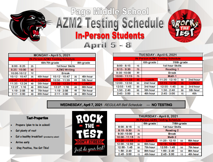 AZ Merit In Person Schedule