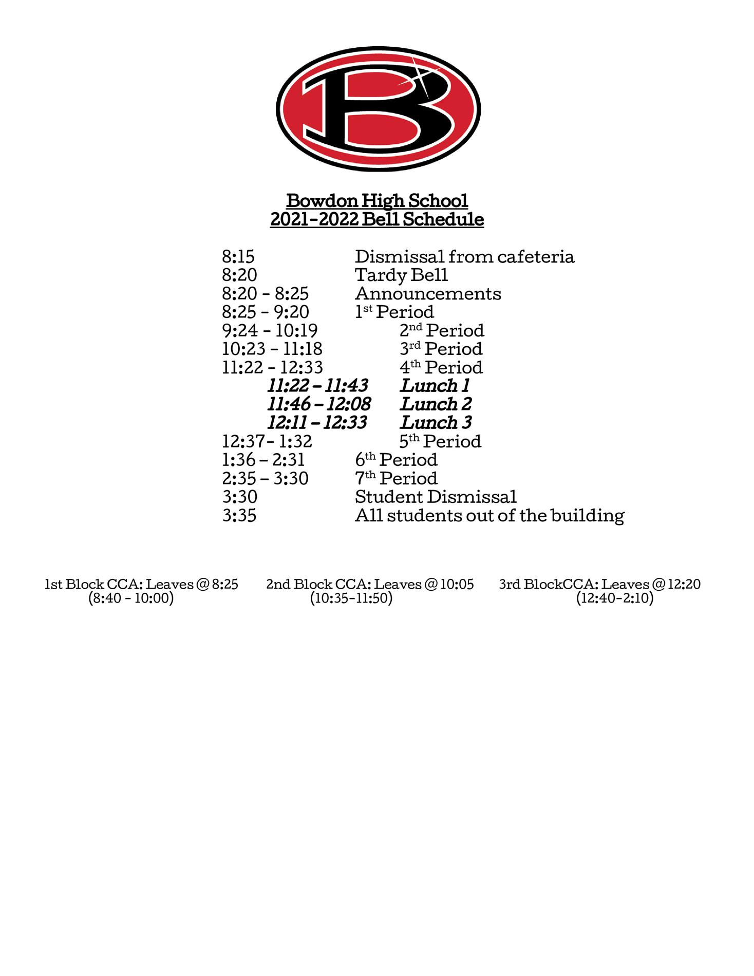 Academic Bell Schedule for 2021-2022