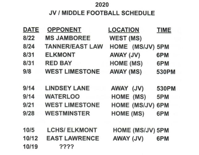 CHS JV Football Schedule