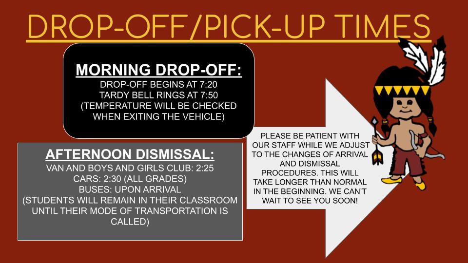 dropoff/pickup times