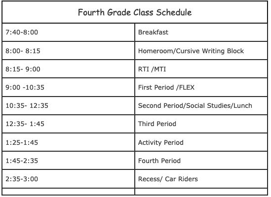 Fourth Grade Class Schedule