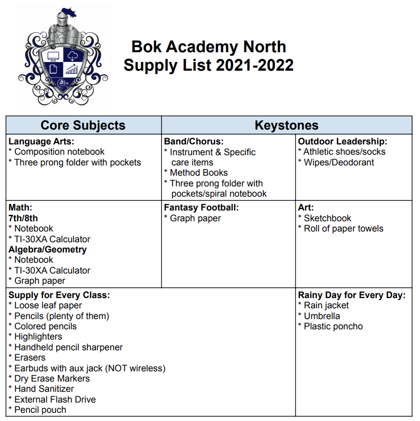 Bok Academy North - Supply List 21-22