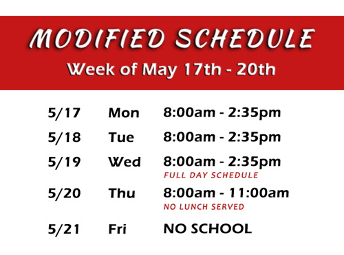 image with modified schedule for last week of school