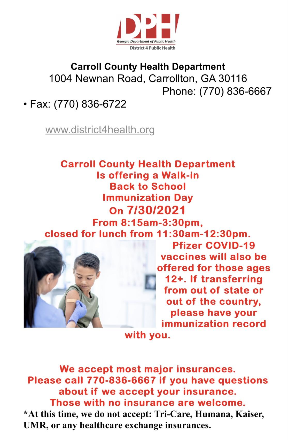 immunization announcement