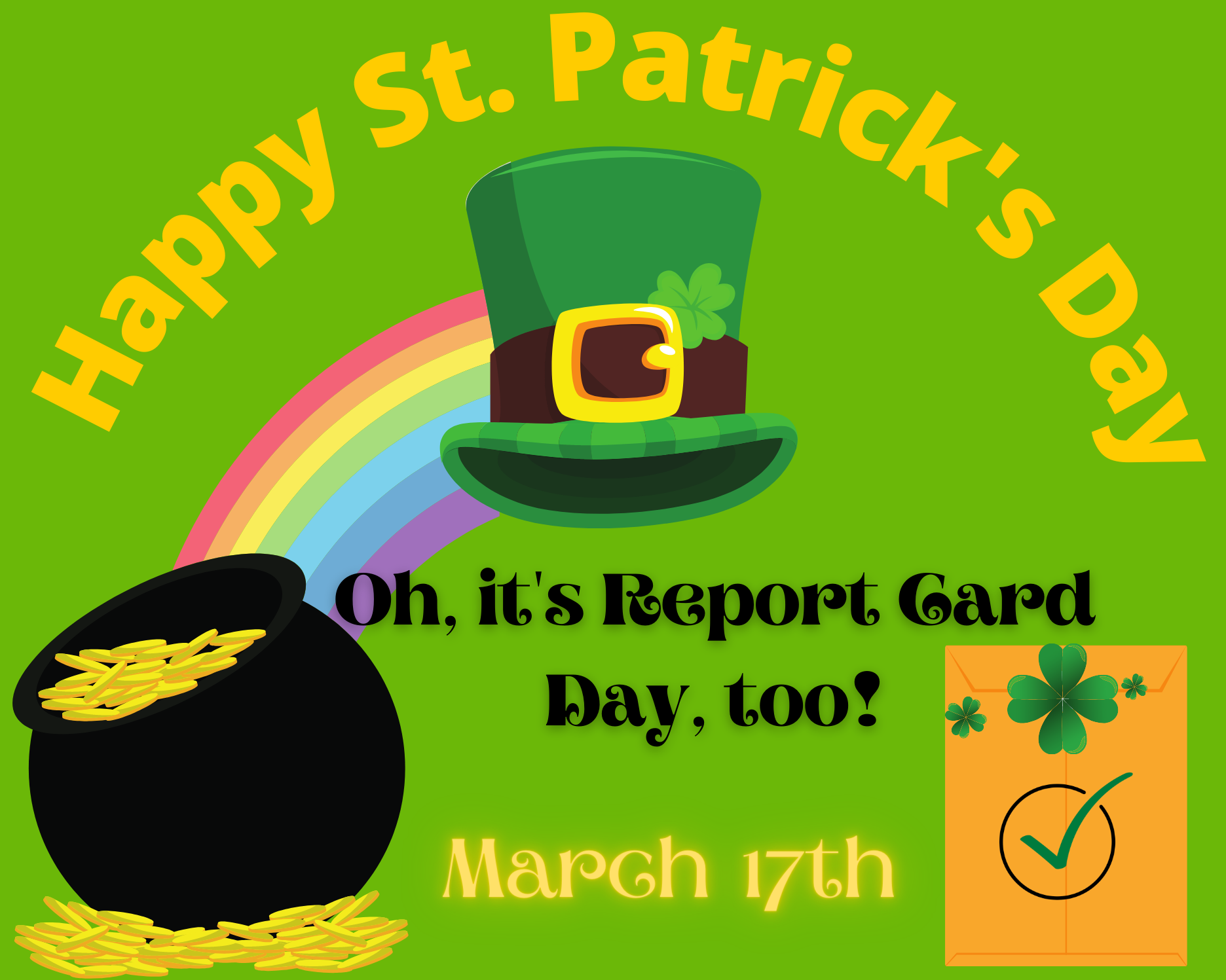 St. Patrick's Day and Report Cards 2021