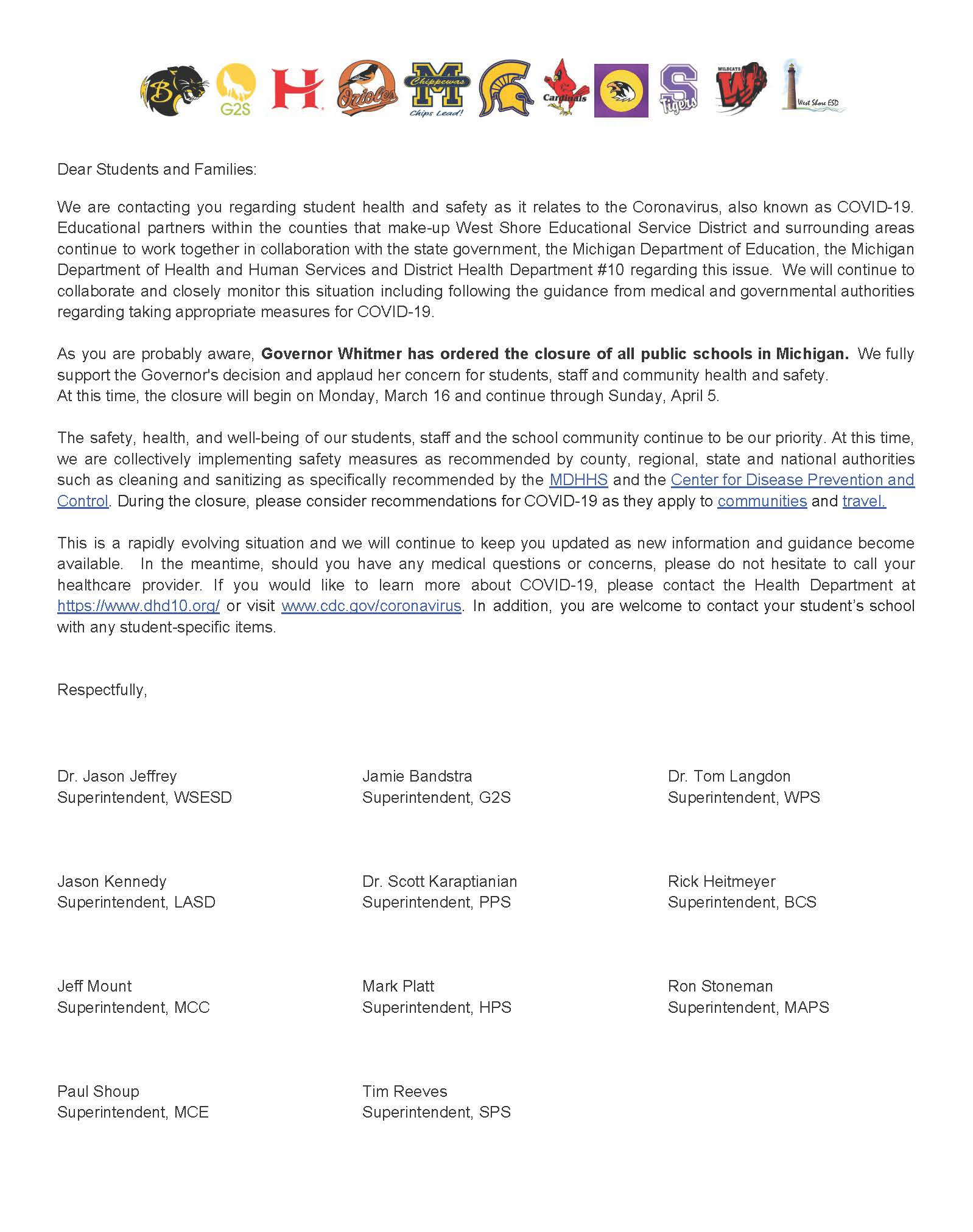 Letter image from the WSESD