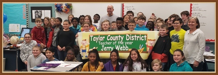Jerry Webb, administrators and students