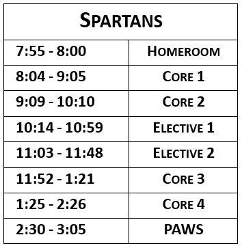spartan team schedule