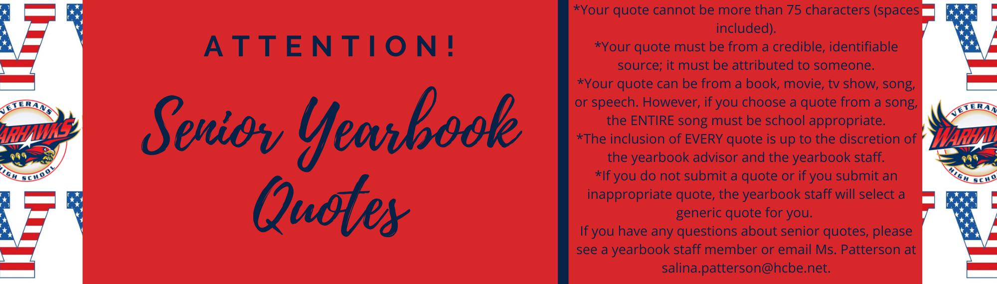 Senior Yearbook Quotes are due