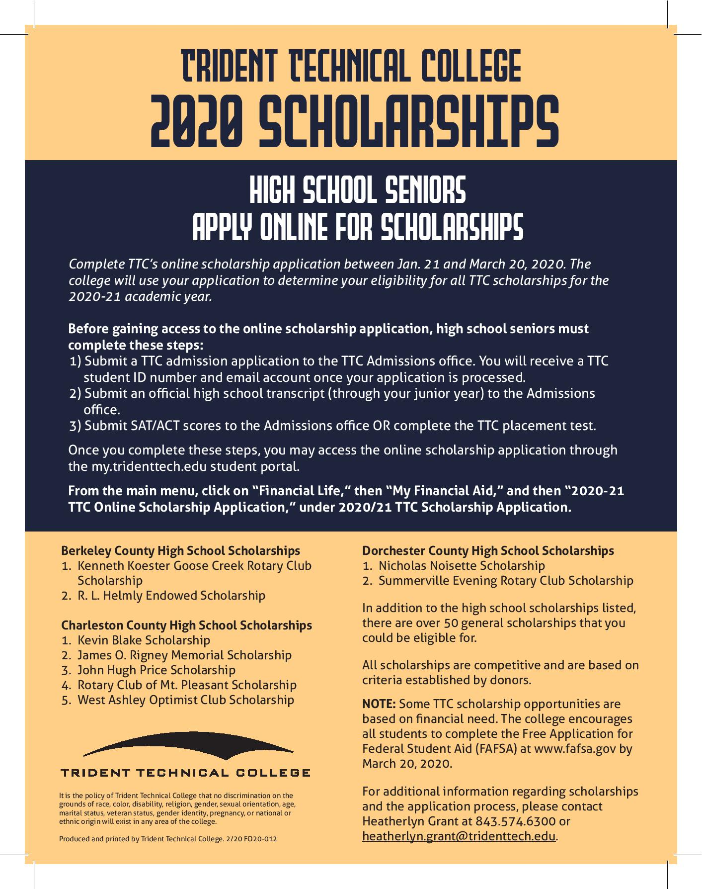 Trident Technical College Scholarship Notice
