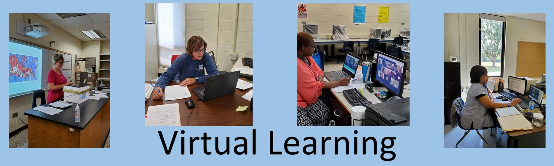 Group of teachers teaching virtually