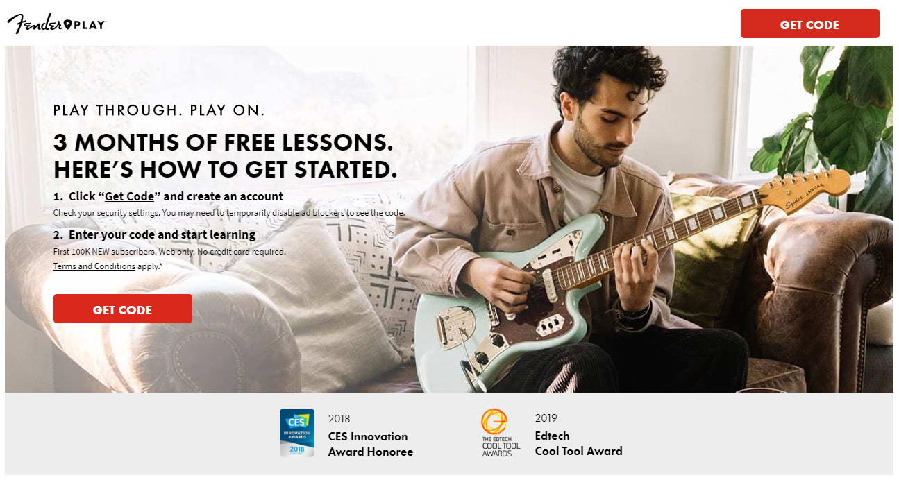 Fender PLAY is offer 3 months of free lessons online. Click on this image for a link to the website.