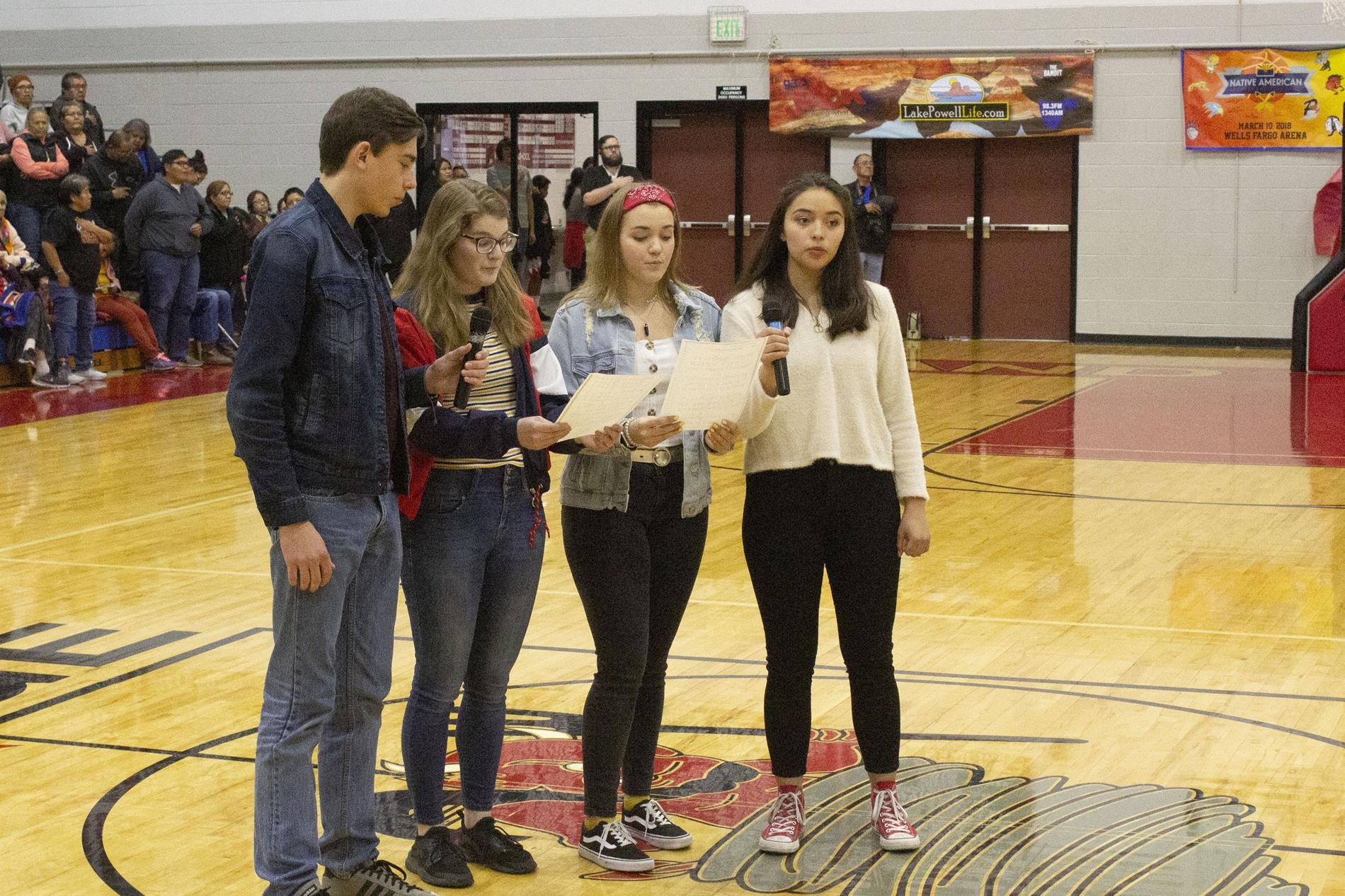 A capella group singing