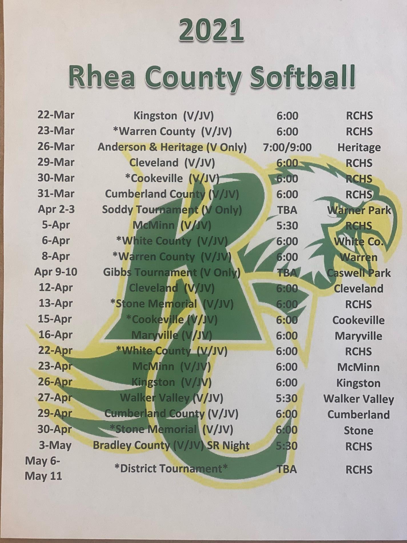Softball Schedule