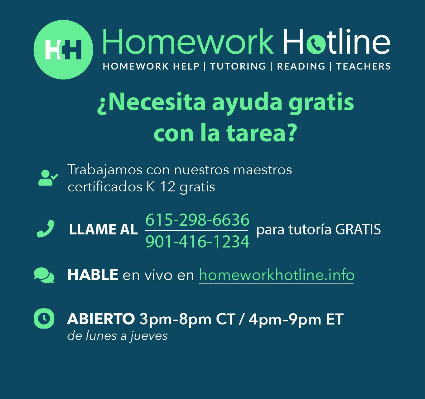 Homework Hotline Spanish Information