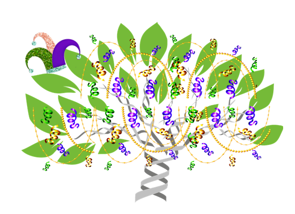DNA tree graphic with Mardi Gras beads and decorations to illustrate Ancestry Library Edition free access extension through March 31, 2021.