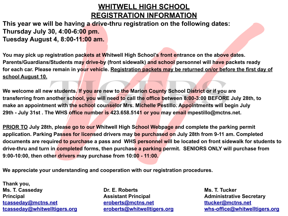 WHS Registration Information