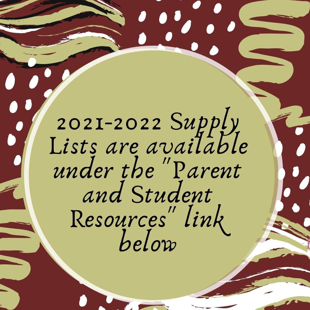 2021 - 2022 Supply Lists