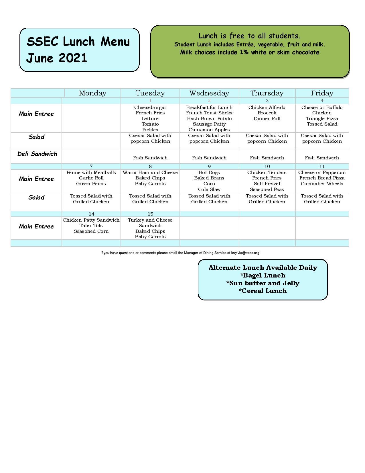 June 2021 Lunch menu