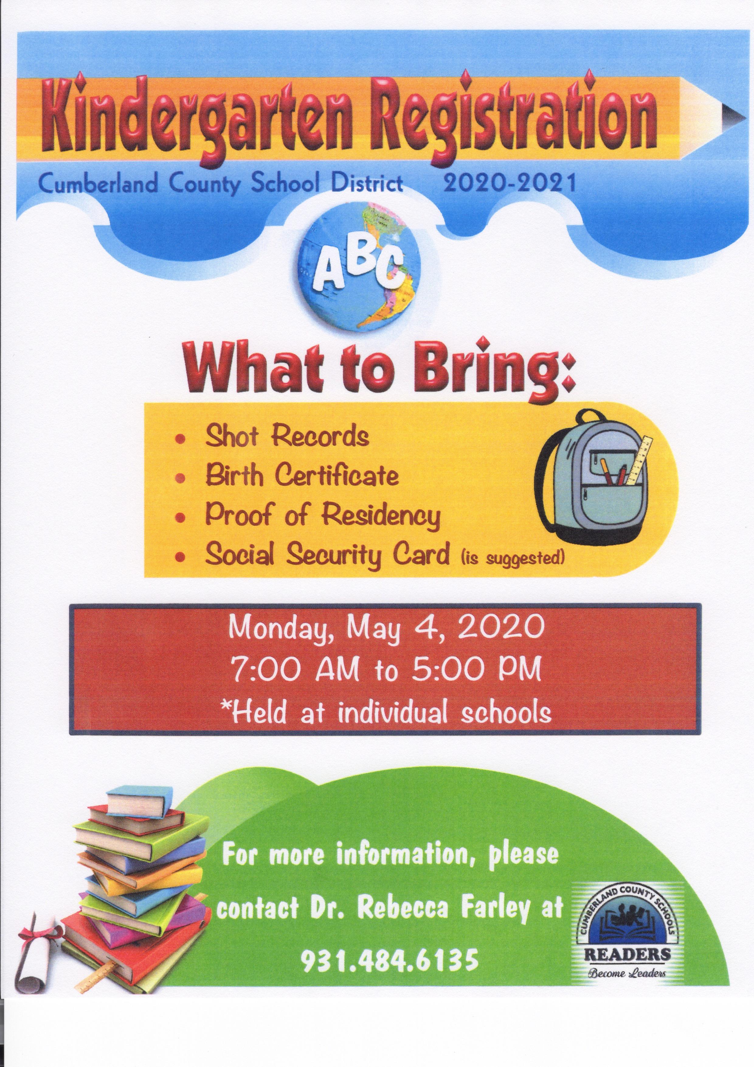 flyer for Kindergarten Registration starting May 4th