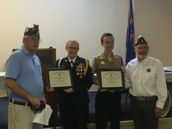 Legion Photo: Left to Right: Bill Jones, Cadet Bledsoe, Cadet Coffey, Charles Sharits (Post Commander)