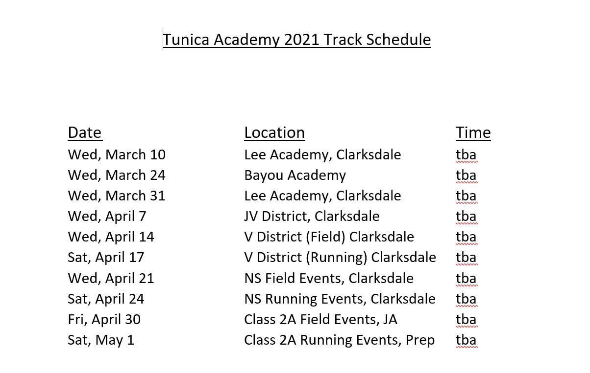 Track Schedule