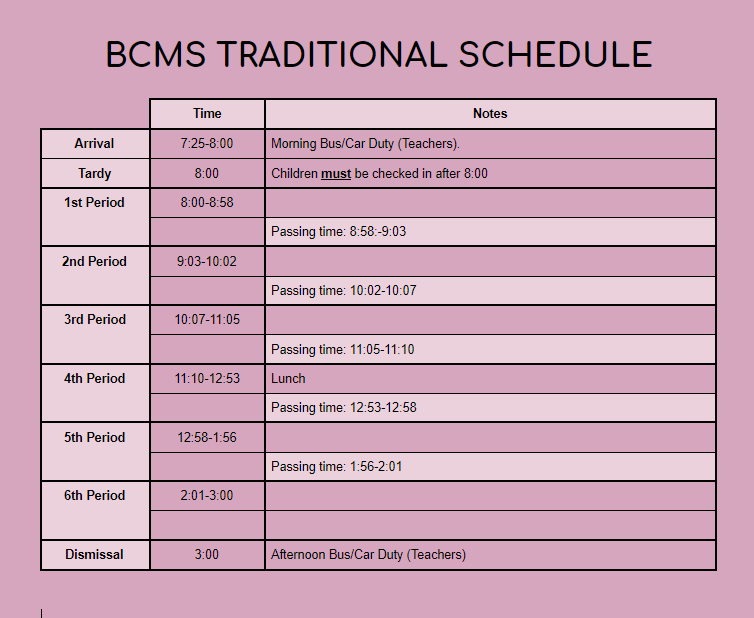 Traditional Schedule