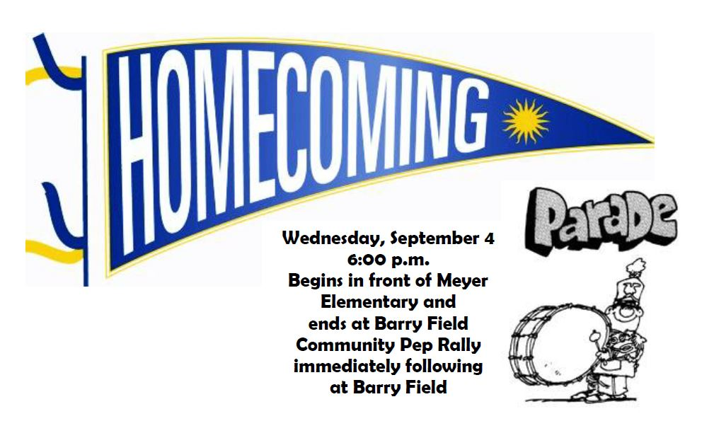 Homecoming Parade Set for Sept. 4