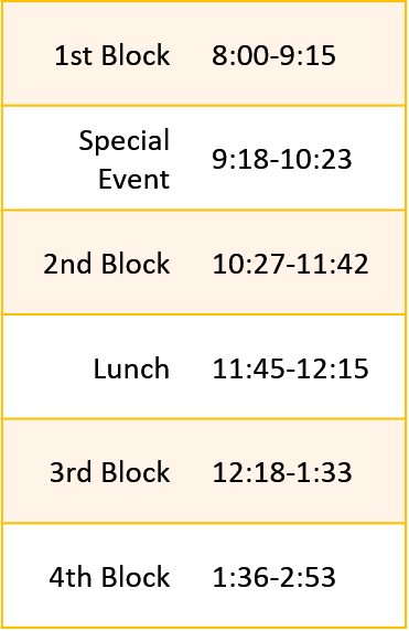 AM Assembly  Bell Schedule. Download Bell Schedule PDF for full details