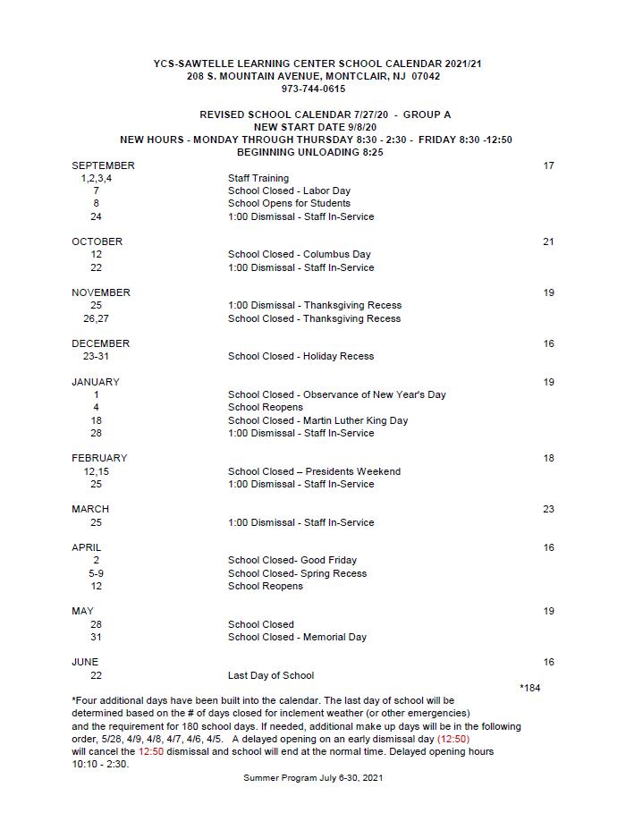 academic calendar 19-20