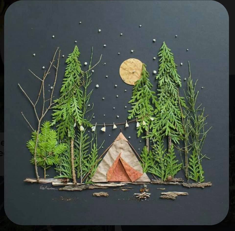 examples of different scenes built by gluing twigs, leaves, flowers, grass, and other objects found outside to construction paper.