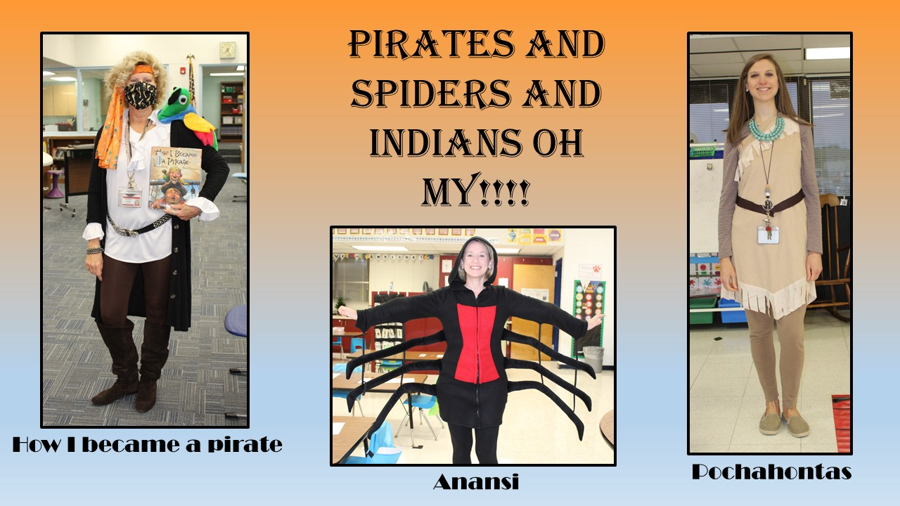 Teachers dressed as a pirate, a spider and Pocahontas