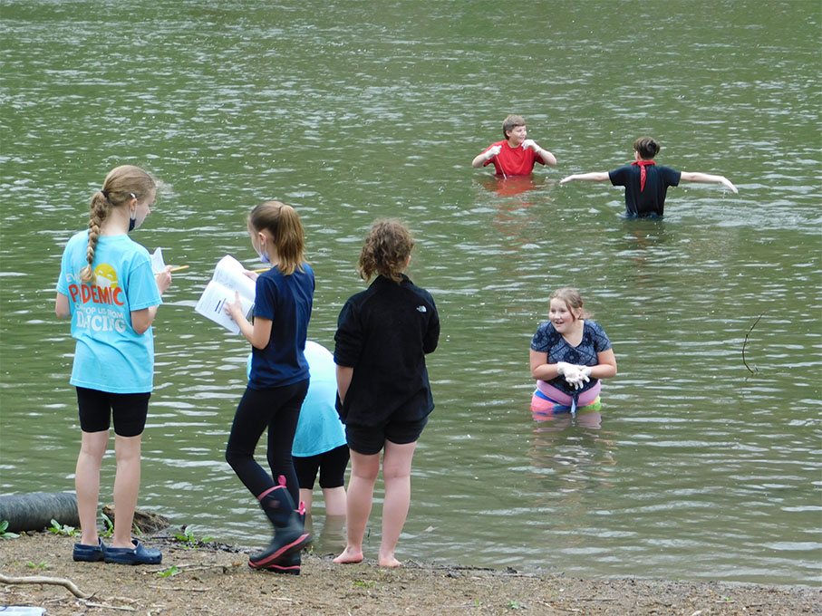 students located another section of the pond to test