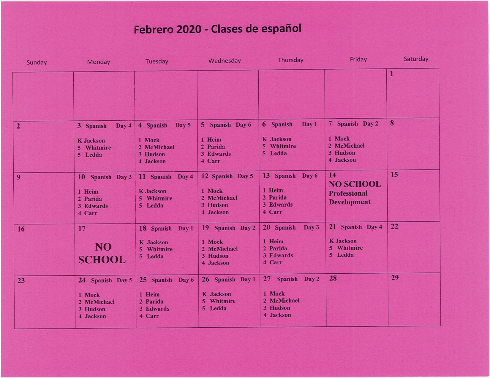 Feb Spanish