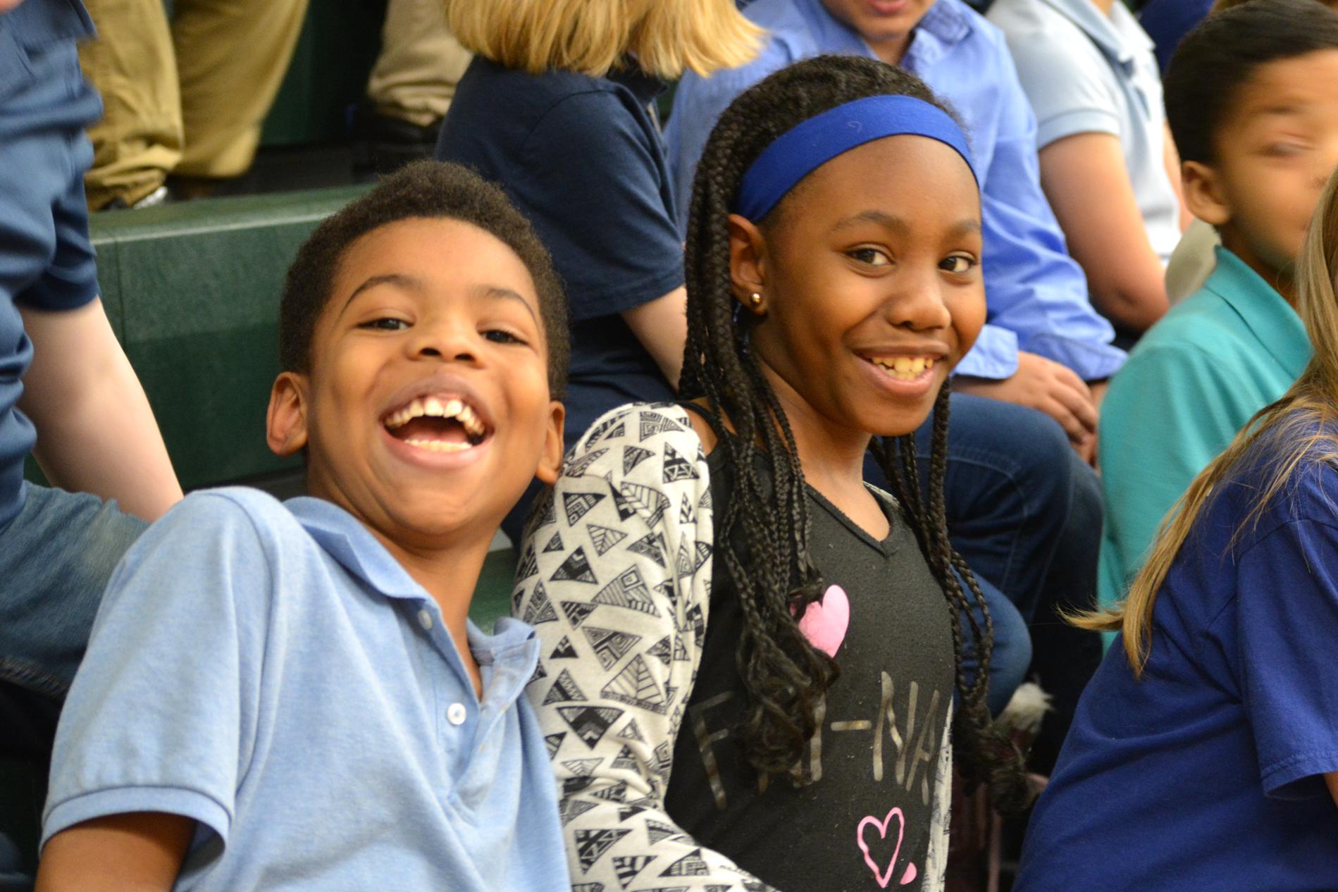 Cheering at Staff v. Students Basketball Game